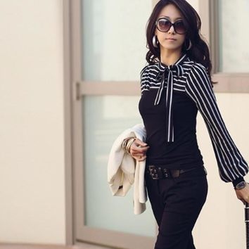New Fashion Polo Neck Stripes Long Puff Sleeve Cotton Casual Tops Blouses T-Shirt