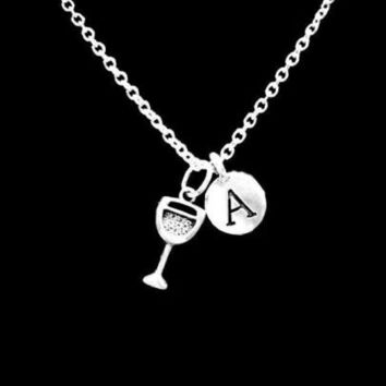Choose Initial Letter Best Friend Sister Wine Glass Valentine Gift Necklace