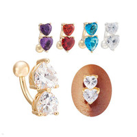 oaiite Medical Steel 6 Colors Double Heart Shape Love CZ Crystal Belly Button Ring Gold / Silver Plated Piercing Body jewelry