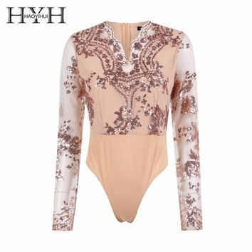 HYH HAOYIHUI Sexy Golden Sequin Mesh Bodysuit Women Transparent Long Sleeve Leotard Bodysuit Top V Neck Elegant Jumpsuit Romper