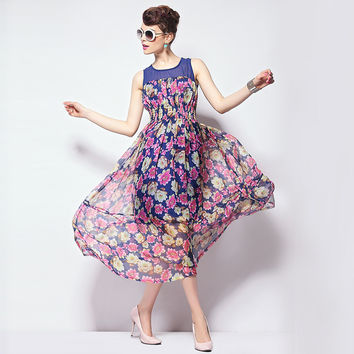 Floral Print Paneled Sleeveless Dress