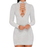V-Neck Irregular Crisscross Long Sleeve Bodycon Mini Dress