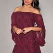 Red Off-The-Shoulder Lace Mini Dress with Bell Sleeves