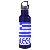 Greece Flag & Name 24oz Water Bottle
