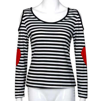 Striped Women Shirt Autumn Casual Long Sleeve Off Shoulder Shirt Patch Red Heart Kawaii Shirt Blusa Renda#A128 SM6