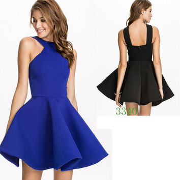 Solid Color Halter Skater Dress