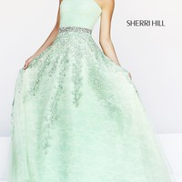 Long Strapless A-Line Formal Gown
