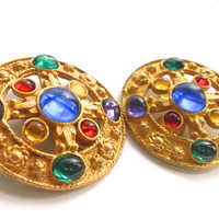 Etruscan Runway Earrings Multi Color Glass Fashion Mad Men Retro Party Jewelry