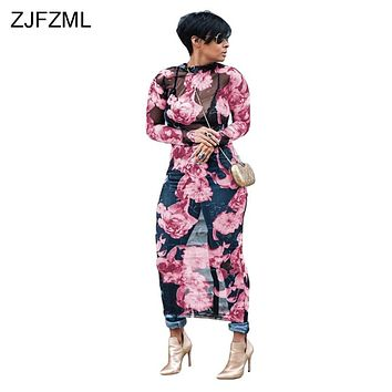 ZJFZML Floral Printed Sexy Plus Size Dress Summer Women Long Sleeve See Through Maxi Vestido Autumn Mesh Club Party Long Dresses