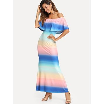 Multicolor Off Shoulder Ruffle Striped Dress