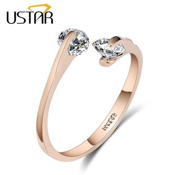 AAA Zircon Wedding Rings opening Rose gold color Crystal engagement rings female anel adjustable size