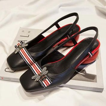 GUCCI Bee Stripe Women Fashion Leather Sandals Low Heeled Shoes