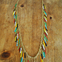 Native American look NECKLACE..............Colorful beads with a golden tone chain......