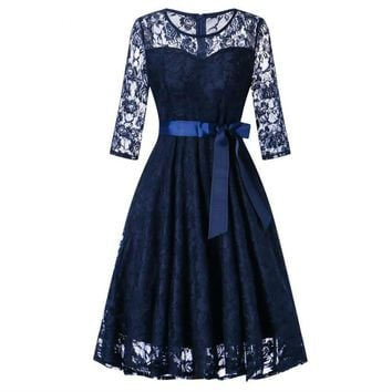 Middle sleeve O-Neck short Navy blue lace Bow Bridesmaid Dresses wedding party dress prom gown women's fashion