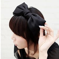 Geoot Fashion Sweet Korean Style Big Bowknot Hair Band Bow Headband Hair Accessory (Black)