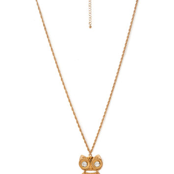 FOREVER 21 Owl Pendant Necklace Gold One