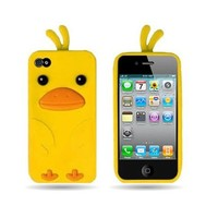 Wireless Central WCC396 Soft Silicone Skin Cover Case With Funky Duck Shape Design for 4 4S Apple Iphone - Yellow