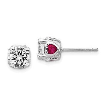 Cheryl M Sterling Silver 6mm Round CZ & Created Ruby Heart Post Earrings