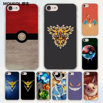 MOUGOL cute Pokemons Blue Guide Eevee Pokeball design hard clear Case Cover for Apple iPhone 7 6 6s Plus SE 4s 5 5s 5c Phone Cas