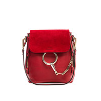 Chloe Small Faye Calfskin & Suede Backpack in Dahlia Red | FWRD
