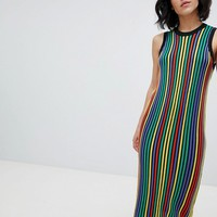 ASOS DESIGN knitted midi dress in bright stripe at asos.com