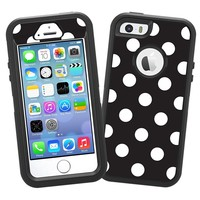 "White Polka Dot on Black ""Protective Decal Skin"" for OtterBox Defender iPhone 5s Case"