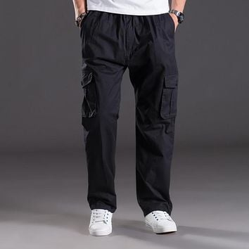 Thin summer casual pants men XL Multi Pocket Jeans Pants overalls elastic waist pants fat  men