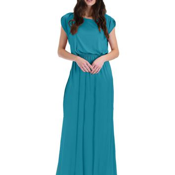 Lyss Loo Timeless Teal Maxi Dress With Elastic Waist & Side Slit