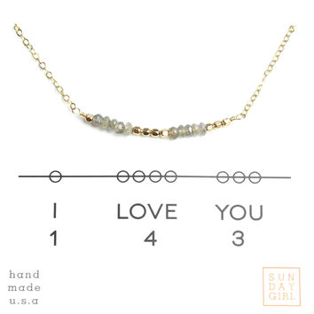 Gemstone Secret Code Necklace - Labradorite