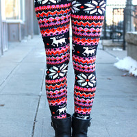 Pretty in Pink Holiday Leggings