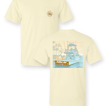 Southern Jack Apparel Charter Boat Comfort Colors Pocket Unisex Frass Bright T Shirt