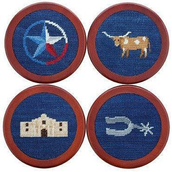 Texas Life Needlepoint Coasters in Classic Navy by Smathers & Branson