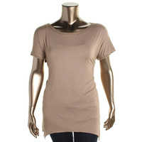 Grace Elements Womens Plus Stretch Studded Casual Top