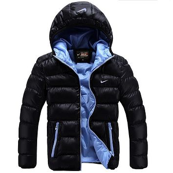 """NIKE"" Men Winter Warm Long Sleeve Cardigan Bread Down Coat Cotton Jacket Windbreaker Hoodie"