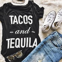 "RealChicksRule™ ""Tacos and Tequila"" Printed T-Shirt"
