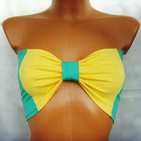 Brasil Sport Underwear Bandeau Yoga Summer Bra Tube Strapless Top In Bright Sunny Plain Yellow and Green Bow Ribbon By Cvetinka