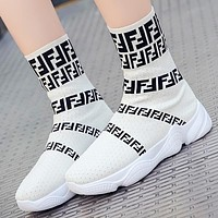 Fendi Fashion New More Letter Print Women Sock Shoes White