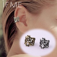 1 Pcs Vintage Antique Ear Cuff Punk Small Flower Hollow Charm Clip Earrings Jewelry For Women