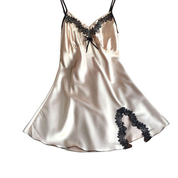 Ladies Sexy Silk Satin Night Dress Sleeveless Nighties V-neck Nightgown  Nightdress Lace Sleepwear Nightwear For Women