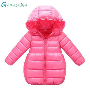 Grandwish 90-140cm Girls Princess Style Hooded Jacket Winter Solid Coats for Children Teens Light Warm Outerwear 3T-10T,TC150