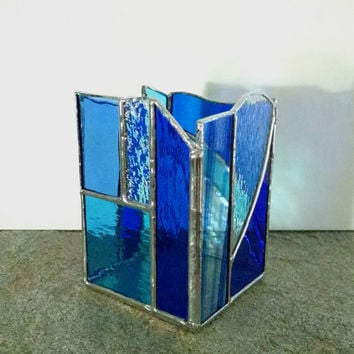 Stained Glass Candle Holder - Abstract Geometric - Blue Aqua Clear  - Home Decor - Lighting - Votive Holder - Modern Decor - Pencil Holder