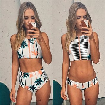 Print Floral Palm Tree Bikini Set,High Waist Swimwear ,High Neck Tank Zipper Striped Swimsuit Padded Bra Vintage Bathing Suit