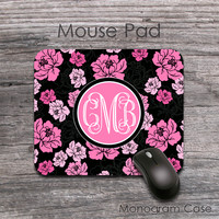Pink peonies on black background mousepad