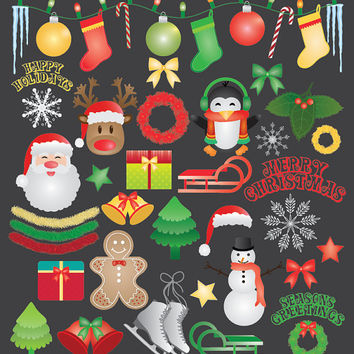 Christmas Clip Art Bundle, 44 images, reindeer, bows, stars, snowman, ornaments, stockings, bells, trees, santa, penguin, sleds, snowflakes