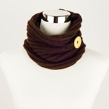 Knit Infinity Scarves Womens Knit Infinity Scarf Chocolate Brown Knit Scarves Wood Button Winter Scarves Infinity Knit Scarves Crochet Scarf