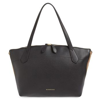 Burberry Women's Medium Welburn Check and Leather Tote Bag, Black, MSRP $1,250