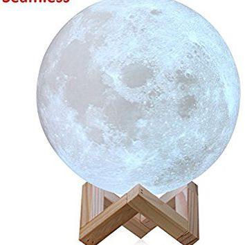 Extra Large!!! 7.1INCHES CPLA Seamless Moon Lamp LED Lunar Lamp Dimmable Brightness Warm & Cool White, Touch Control Moon Light Gifts Decorative Diameter 18cm