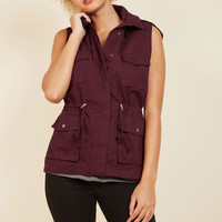 High-Trail It Outta Here Vest in Burgundy | Mod Retro Vintage Vests | ModCloth.com