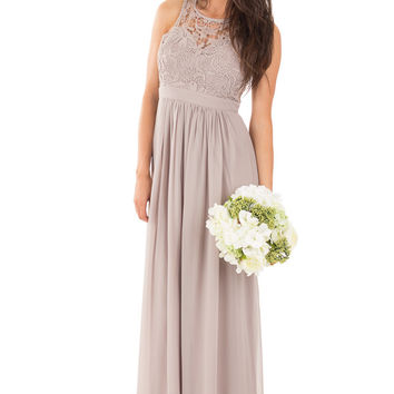 Taupe Woven Maxi Dress with Crochet Bodice