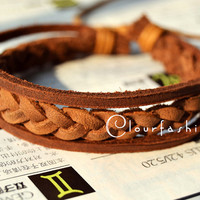 Christmas Gift, Unique handmade, Winter Gift, Fashion Braid Brown Leather Bracelet, Wrap Bracelet W-79